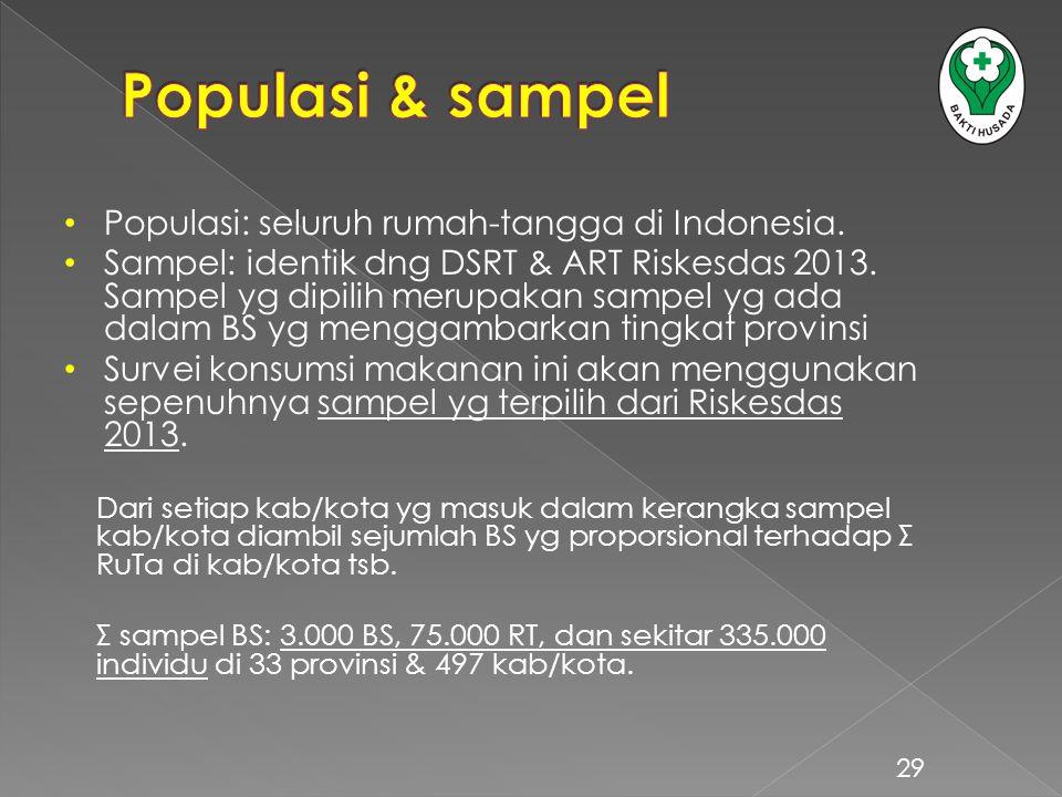 Populasi: seluruh rumah-tangga di Indonesia. Sampel: identik dng DSRT & ART Riskesdas 2013. Sampel yg dipilih merupakan sampel yg ada dalam BS yg meng