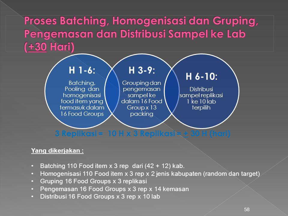 58 Yang dikerjakan : Batching 110 Food item x 3 rep dari (42 + 12) kab. Homogenisasi 110 Food item x 3 rep x 2 jenis kabupaten (random dan target) Gru