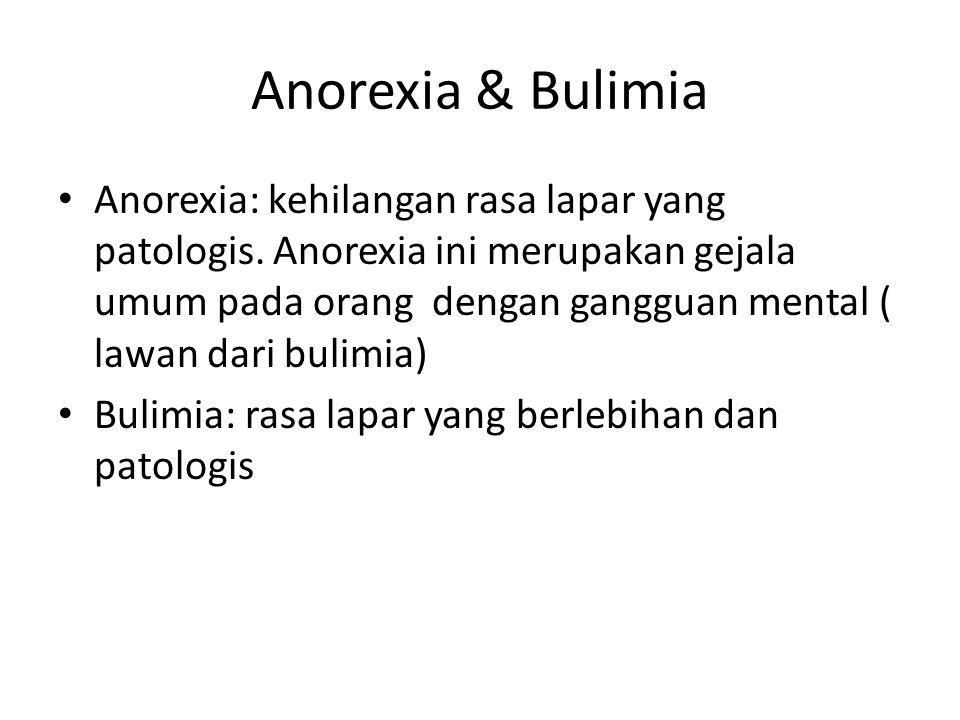 Anorexia & Bulimia Anorexia: kehilangan rasa lapar yang patologis. Anorexia ini merupakan gejala umum pada orang dengan gangguan mental ( lawan dari b