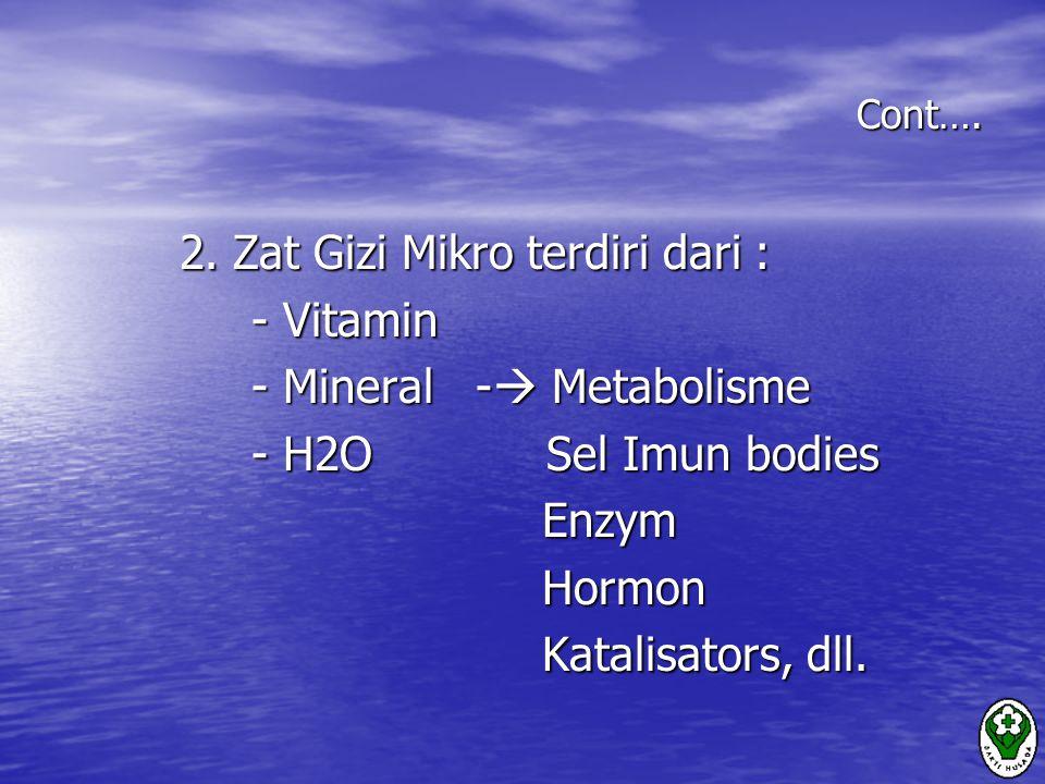 Cont….2. Zat Gizi Mikro terdiri dari : 2.