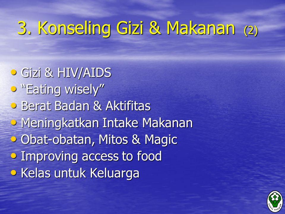"3. Konseling Gizi & Makanan (2) Gizi & HIV/AIDS Gizi & HIV/AIDS ""Eating wisely"" ""Eating wisely"" Berat Badan & Aktifitas Berat Badan & Aktifitas Mening"