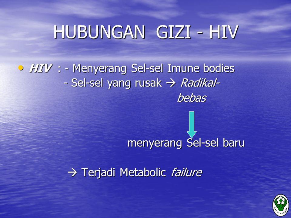 HUBUNGAN GIZI - HIV HIV : - Menyerang Sel-sel Imune bodies HIV : - Menyerang Sel-sel Imune bodies - Sel-sel yang rusak  Radikal- - Sel-sel yang rusak  Radikal- bebas bebas menyerang Sel-sel baru menyerang Sel-sel baru  Terjadi Metabolic failure  Terjadi Metabolic failure
