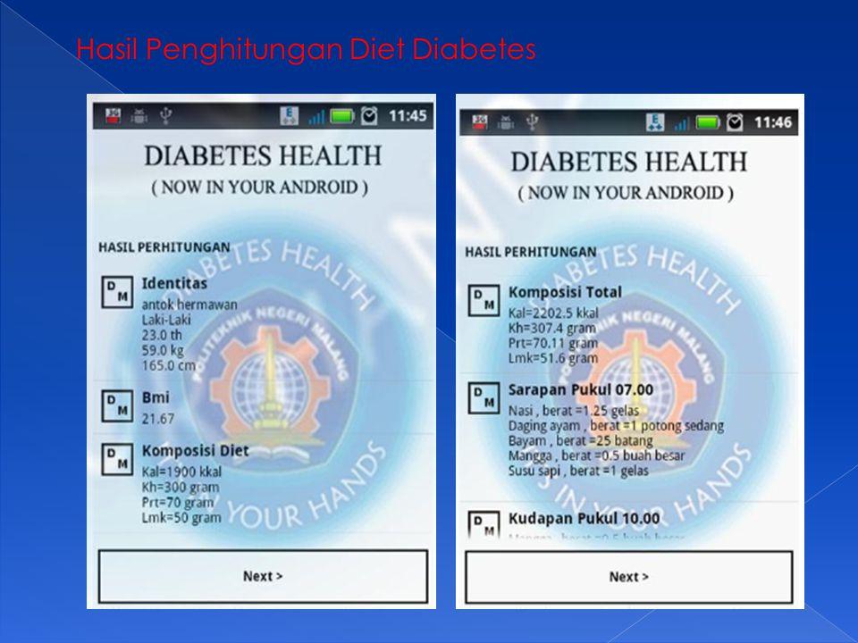 Hasil Penghitungan Diet Diabetes
