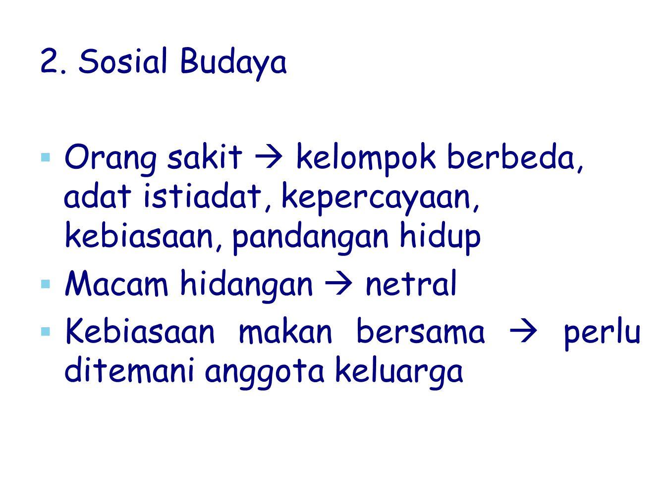 2. Sosial Budaya   Orang sakit  kelompok berbeda, adat istiadat, kepercayaan, kebiasaan, pandangan hidup   Macam hidangan  netral   Kebiasaan