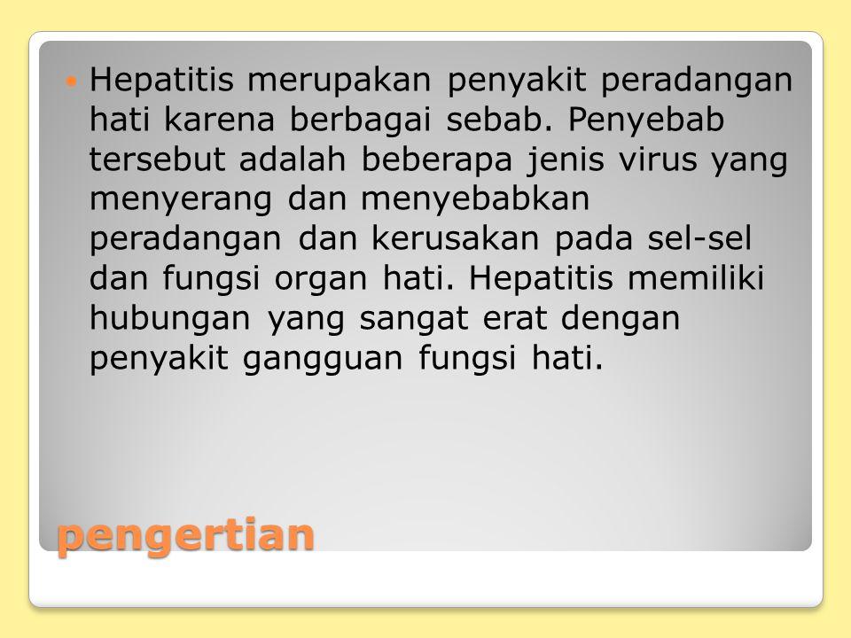 pengertian Hepatitis merupakan penyakit peradangan hati karena berbagai sebab. Penyebab tersebut adalah beberapa jenis virus yang menyerang dan menyeb