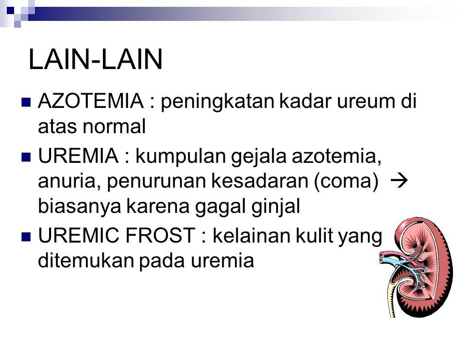 LAIN-LAIN AZOTEMIA : peningkatan kadar ureum di atas normal UREMIA : kumpulan gejala azotemia, anuria, penurunan kesadaran (coma)  biasanya karena ga