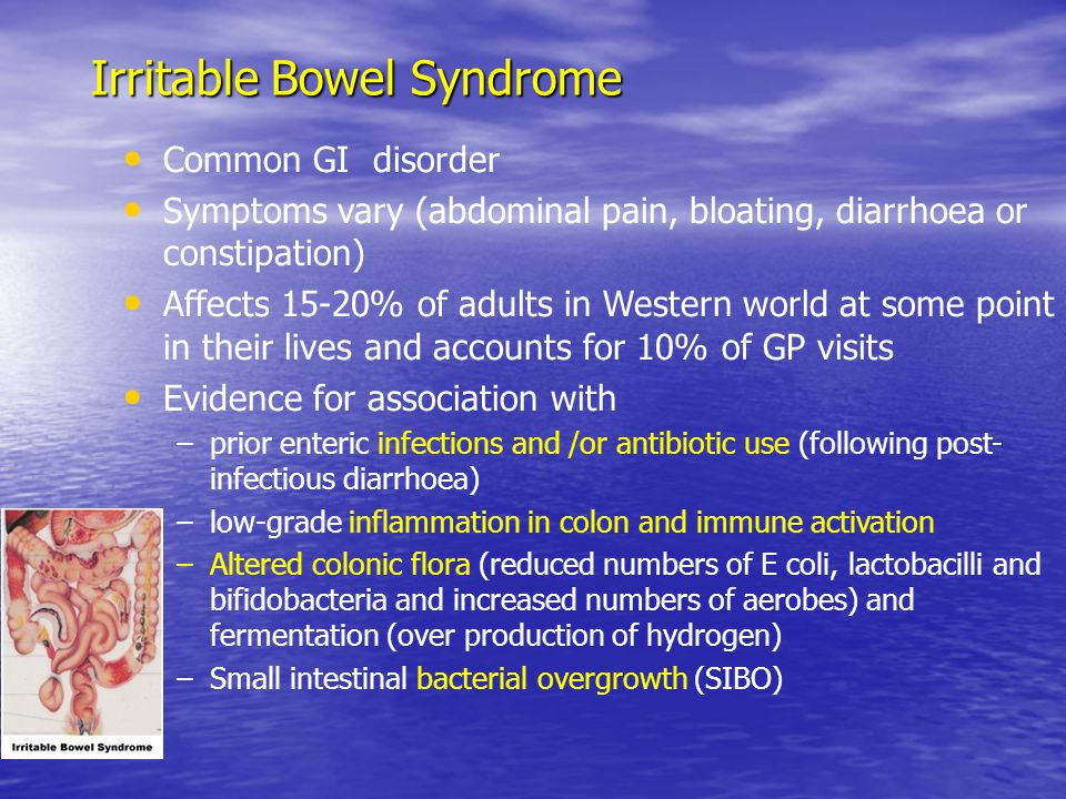 Common GI disorder Symptoms vary (abdominal pain, bloating, diarrhoea or constipation) Affects 15-20% of adults in Western world at some point in their lives and accounts for 10% of GP visits Evidence for association with –prior enteric infections and /or antibiotic use (following post- infectious diarrhoea) –low-grade inflammation in colon and immune activation –Altered colonic flora (reduced numbers of E coli, lactobacilli and bifidobacteria and increased numbers of aerobes) and fermentation (over production of hydrogen) –Small intestinal bacterial overgrowth (SIBO) Irritable Bowel Syndrome