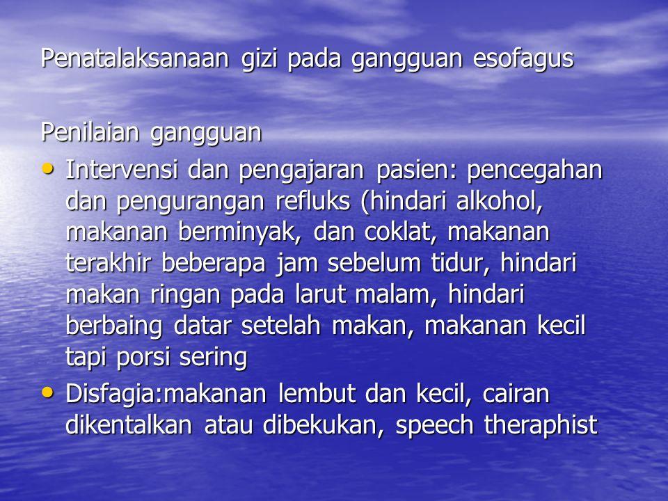 Penyakit radang usus (Penyakit Crohn dan Kolitis ulserativa) Penyakit Crohn: peradangan diding usus sampai ileum terminal Eksaserbasi akut: nyeri perut, demem, mual, diare Eksaserbasi akut: nyeri perut, demem, mual, diare Kronik: kehilangan berat badan, anoreksia, anemia, stetorea Kronik: kehilangan berat badan, anoreksia, anemia, stetorea Kolitis ulserativa: penyumbatan, edema, ulserasi mukosa dan submukosa usus sampai ileum tereminal, kolon, rektum.