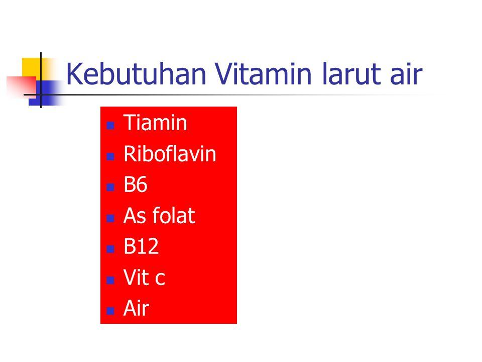 Kebutuhan Vitamin larut lemak Vit A bila berlebih menimbulkan cacat Vit D untuk metabolisme kalsium, bila berlebih menyebabkan janin hiperkalsemia Vit E untuk reproduksi normal, menurunkan lahir mati & aborsi spontan Vit K : untuk normal pembekuan darah dan mencegah perdarahan janin