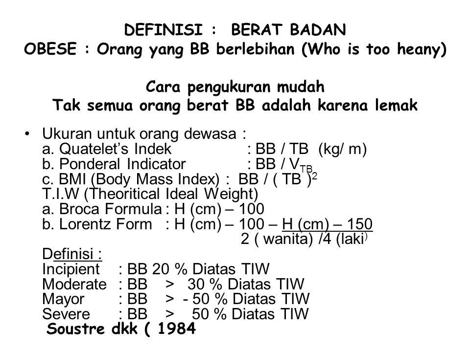 Definisi. Struktural : Komposisi lemak tubuh ( Hub. Ant. Masa lemak & sisa masa tubuh ) Tubuh ManusiaB.B. 70 kgBB 100 kg NormalObese NormalObese Masa