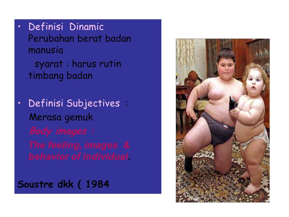DEFINISI : BERAT BADAN OBESE : Orang yang BB berlebihan (Who is too heany) Cara pengukuran mudah Tak semua orang berat BB adalah karena lemak Ukuran u