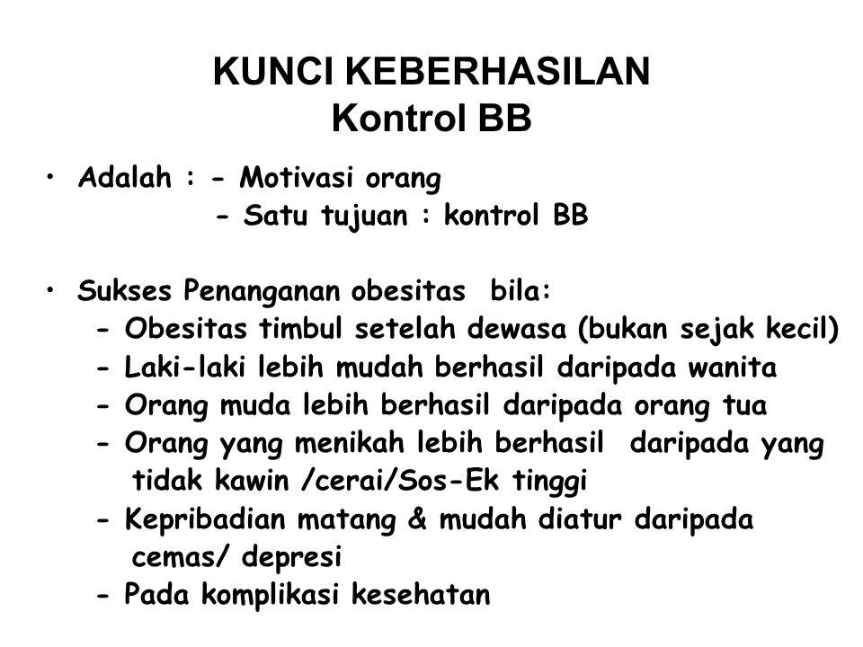 KONTROL BB Usaha untuk mempertahankan BB dalam keadaan minimal dengan tingkat kesehatan maksimal atau * Penyesuaian BB dalam mencapai standard