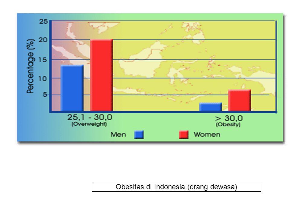Data di Indonesia Tahun Umuroverweightobesitipatokan 1994 1996/ 1997 Anak SD pusat (surabaya) SD pinggir kota -Remaja Yogya -Remaja (semua ibukota) -D