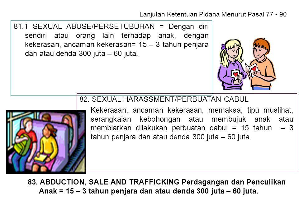 Lanjutan Ketentuan Pidana Menurut Pasal 77 - 90 Psl 79.Adopsi yang bertentangan dengan ps.39 (berdasarkan UU, tidak memutuskan hubungan darah, seagama