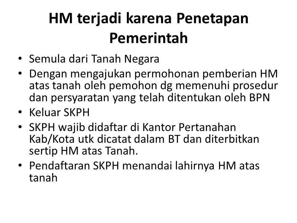 HM terjadi karena Penetapan Pemerintah Semula dari Tanah Negara Dengan mengajukan permohonan pemberian HM atas tanah oleh pemohon dg memenuhi prosedur