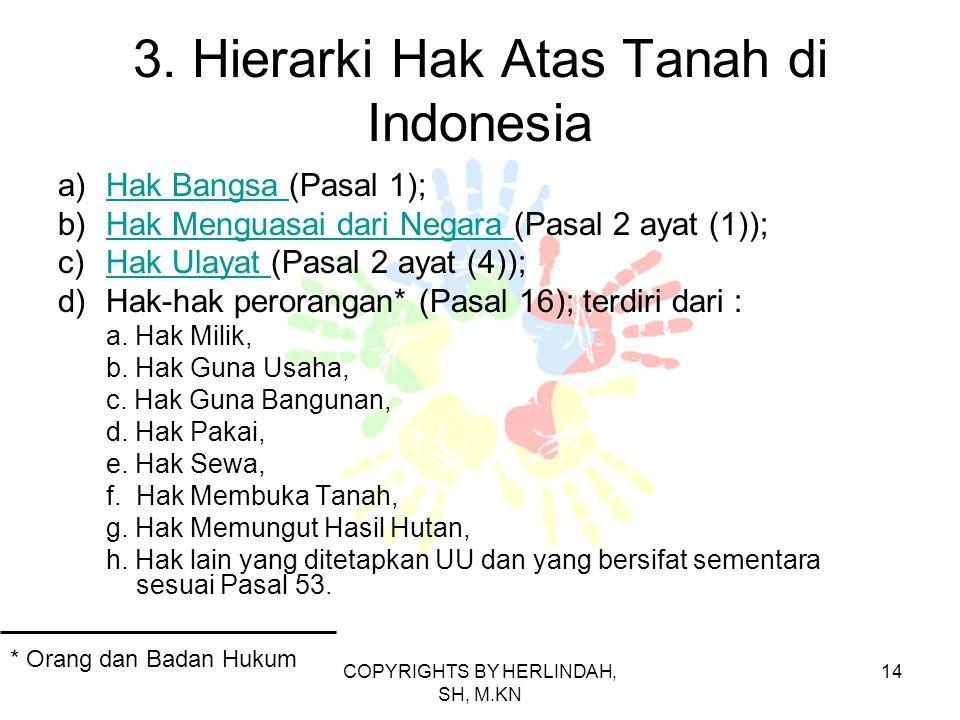 3. Hierarki Hak Atas Tanah di Indonesia a)Hak Bangsa (Pasal 1);Hak Bangsa b)Hak Menguasai dari Negara (Pasal 2 ayat (1));Hak Menguasai dari Negara c)H