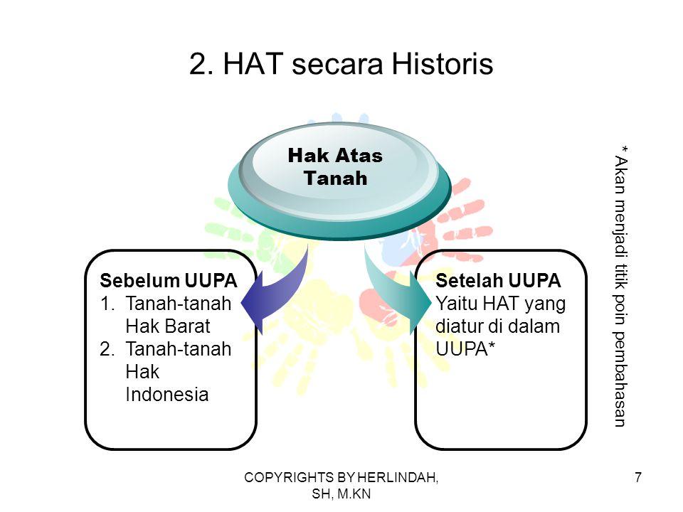 2. HAT secara Historis Sebelum UUPA 1.Tanah-tanah Hak Barat 2.Tanah-tanah Hak Indonesia Hak Atas Tanah Setelah UUPA Yaitu HAT yang diatur di dalam UUP