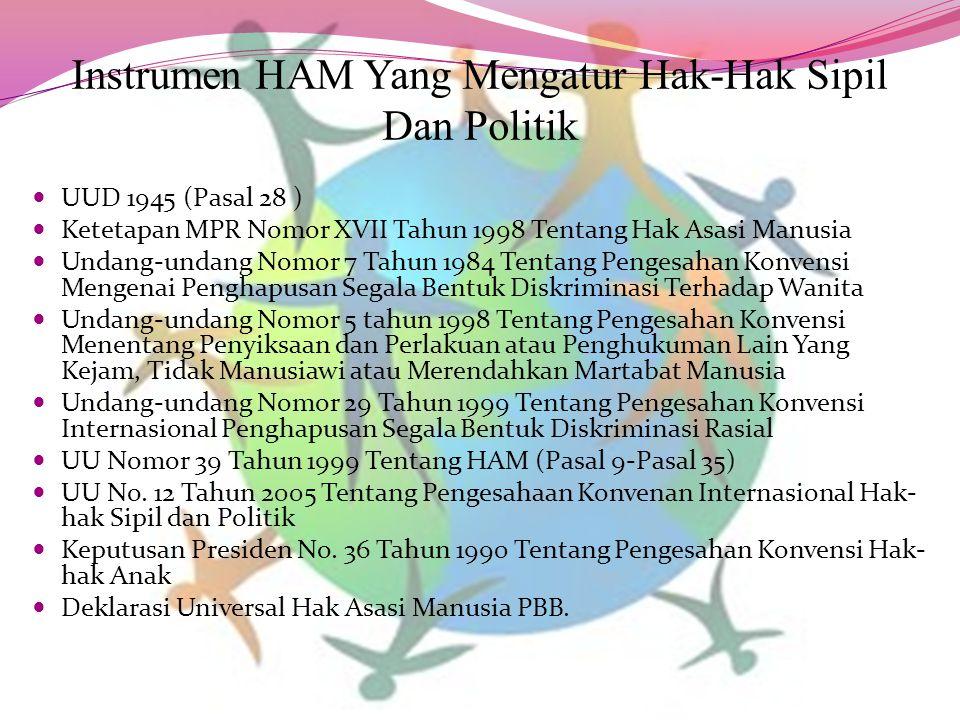 Instrumen HAM Yang Mengatur Hak-Hak Sipil Dan Politik UUD 1945 (Pasal 28 ) Ketetapan MPR Nomor XVII Tahun 1998 Tentang Hak Asasi Manusia Undang-undang