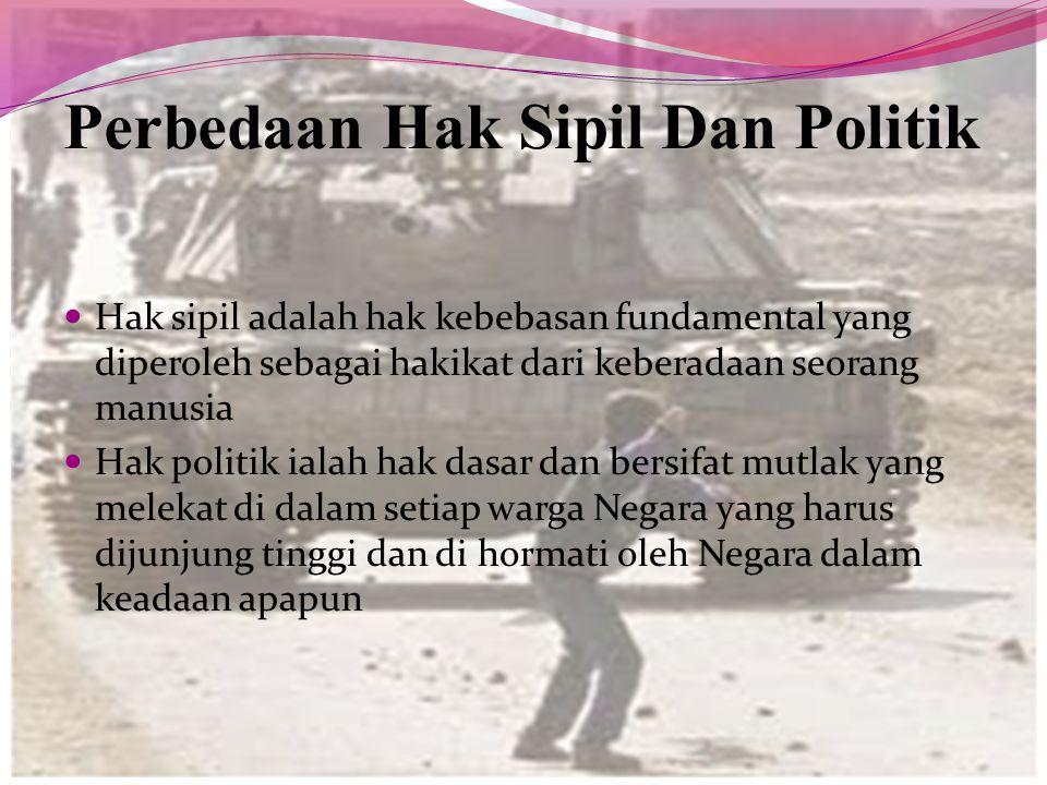 Perbedaan Hak Sipil Dan Politik Hak sipil adalah hak kebebasan fundamental yang diperoleh sebagai hakikat dari keberadaan seorang manusia Hak politik
