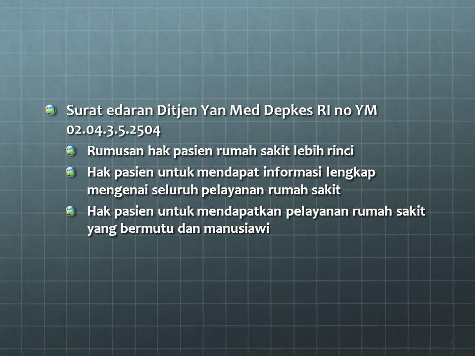 Surat edaran Ditjen Yan Med Depkes RI no YM 02.04.3.5.2504 Rumusan hak pasien rumah sakit lebih rinci Hak pasien untuk mendapat informasi lengkap meng