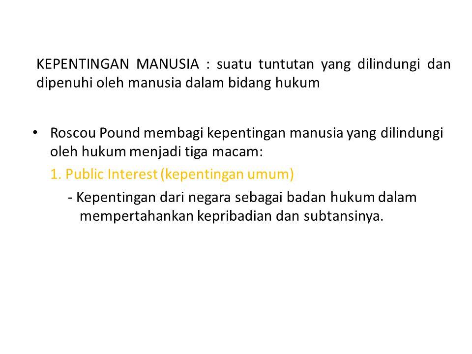 KEPENTINGAN MANUSIA : suatu tuntutan yang dilindungi dan dipenuhi oleh manusia dalam bidang hukum Roscou Pound membagi kepentingan manusia yang dilind