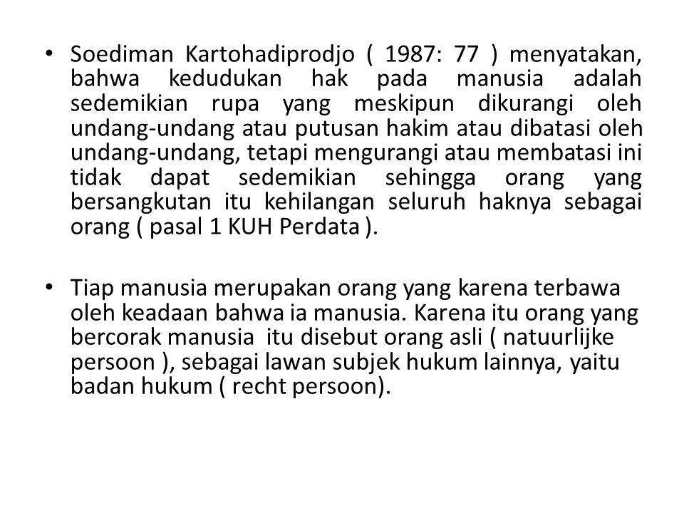 Soediman Kartohadiprodjo ( 1987: 77 ) menyatakan, bahwa kedudukan hak pada manusia adalah sedemikian rupa yang meskipun dikurangi oleh undang-undang a