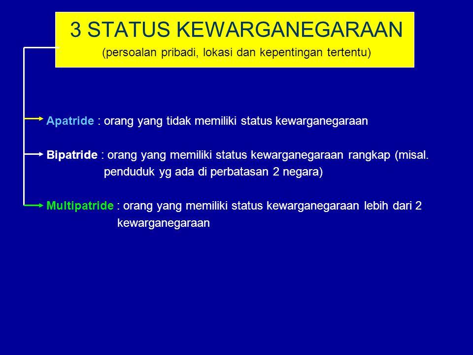 3 STATUS KEWARGANEGARAAN (persoalan pribadi, lokasi dan kepentingan tertentu) Apatride : orang yang tidak memiliki status kewarganegaraan Bipatride :