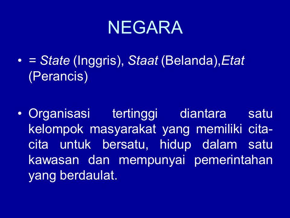 NEGARA = State (Inggris), Staat (Belanda),Etat (Perancis) Organisasi tertinggi diantara satu kelompok masyarakat yang memiliki cita- cita untuk bersat