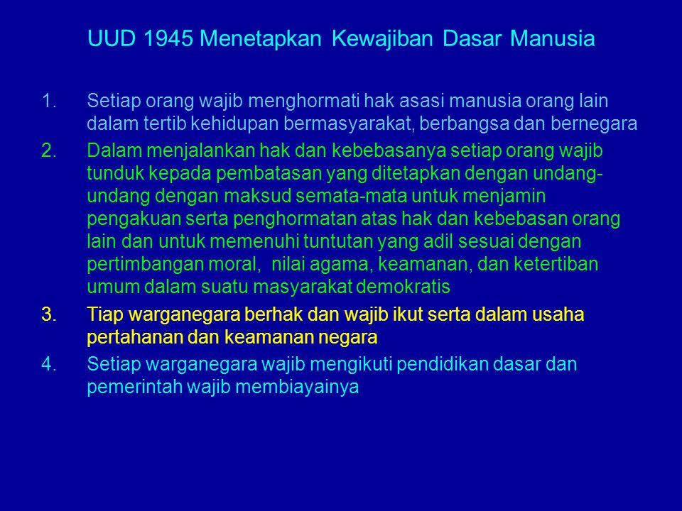 UUD 1945 Menetapkan Kewajiban Dasar Manusia 1.Setiap orang wajib menghormati hak asasi manusia orang lain dalam tertib kehidupan bermasyarakat, berban