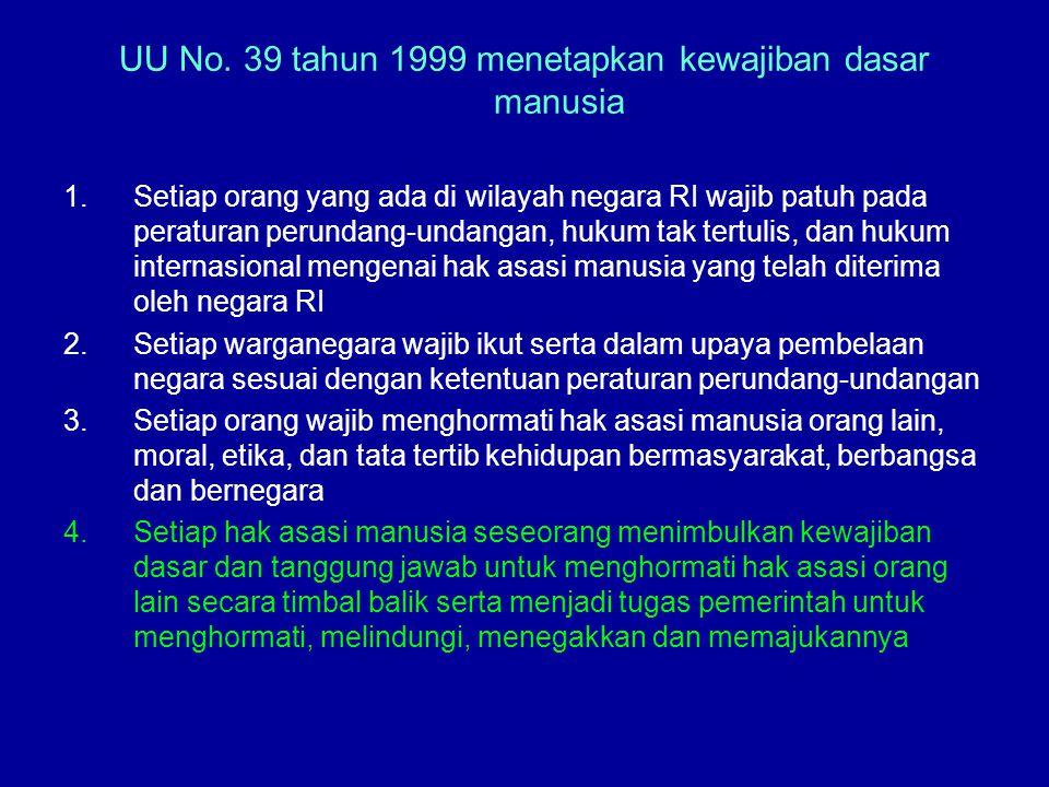UU No. 39 tahun 1999 menetapkan kewajiban dasar manusia 1.Setiap orang yang ada di wilayah negara RI wajib patuh pada peraturan perundang-undangan, hu