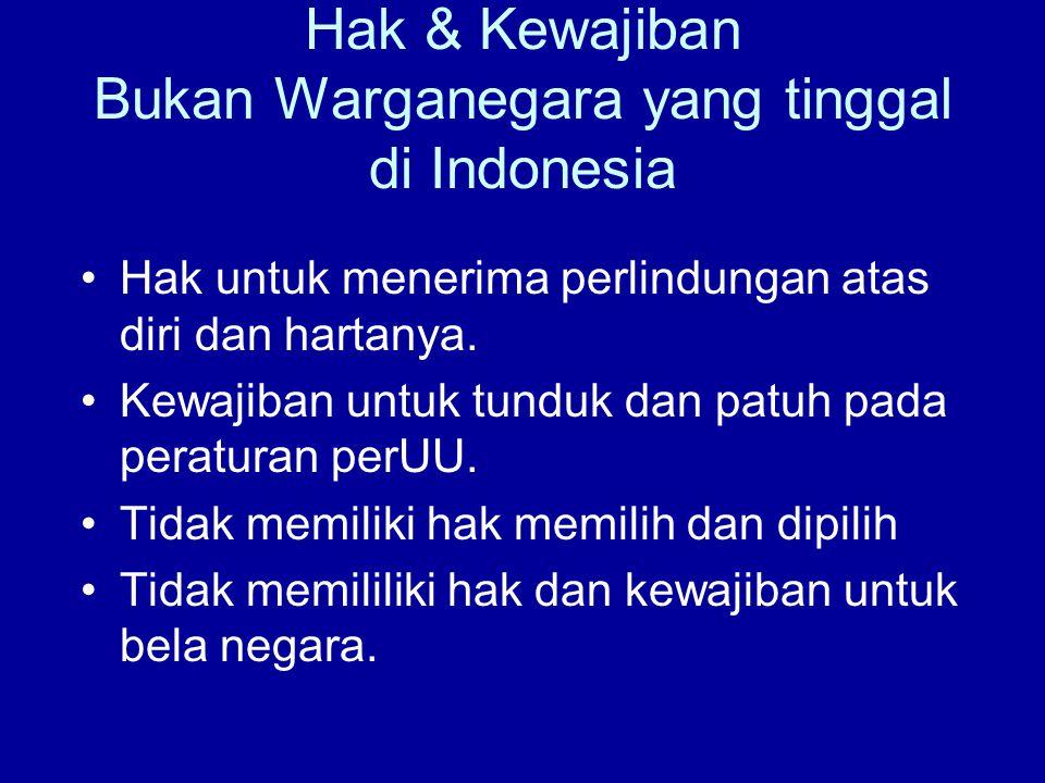 Hak & Kewajiban Bukan Warganegara yang tinggal di Indonesia Hak untuk menerima perlindungan atas diri dan hartanya. Kewajiban untuk tunduk dan patuh p