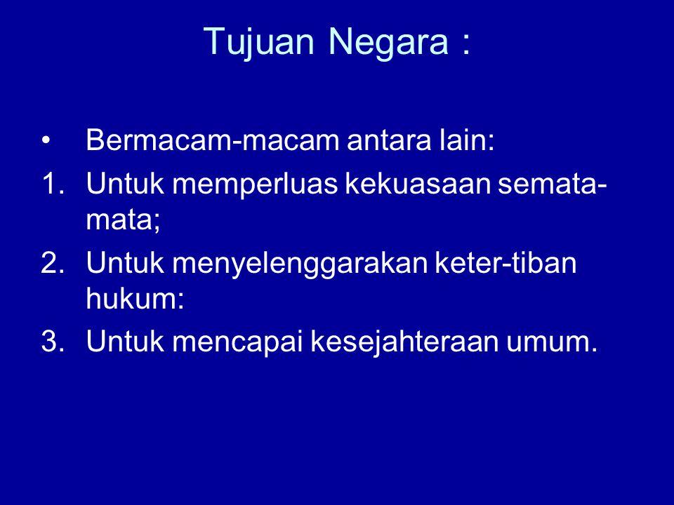 Unsur – unsur Negara Unsur konstitutif : 1.Rakyat 2.