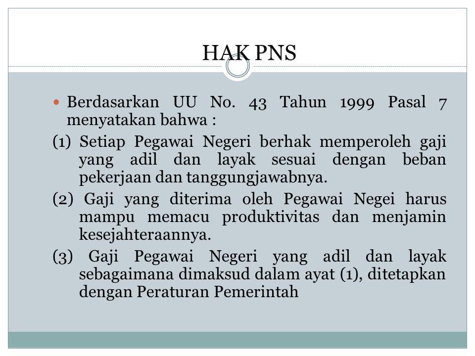 HAK PNS Berdasarkan UU No.