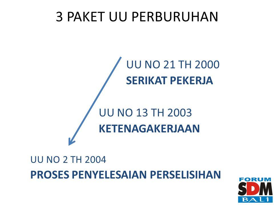 3 PAKET UU PERBURUHAN UU NO 21 TH 2000 SERIKAT PEKERJA UU NO 13 TH 2003 KETENAGAKERJAAN UU NO 2 TH 2004 PROSES PENYELESAIAN PERSELISIHAN