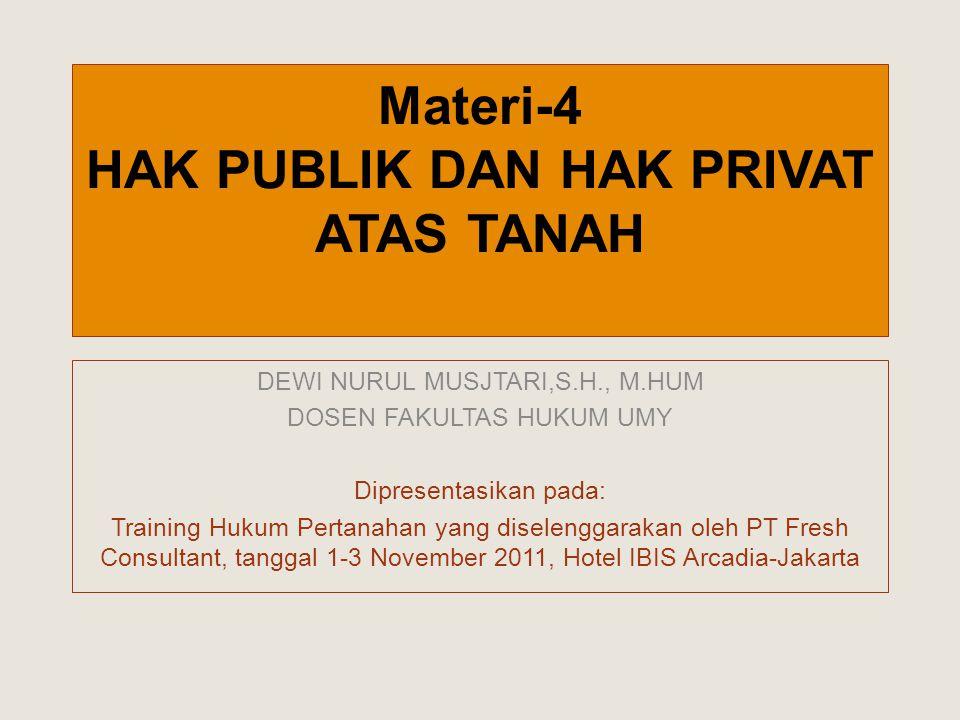 Materi-4 HAK PUBLIK DAN HAK PRIVAT ATAS TANAH DEWI NURUL MUSJTARI,S.H., M.HUM DOSEN FAKULTAS HUKUM UMY Dipresentasikan pada: Training Hukum Pertanahan