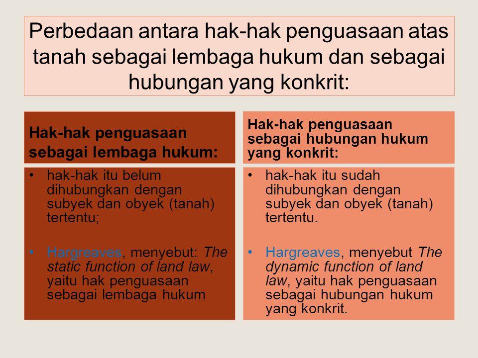 Pengertian Hak-hak Atas Tanah: Hak Milik adalah hak turun temurun, terkuat dan terpenuh yang dapat dipunyai orang atas tanah (Pasal 20 ayat 1 UUPA) HGU adalah hak untuk mengusahakan tanah yang dikuasai langsung oleh Negara (Pasal 28 ayat 1 UUPA) HGB adalah hak untuk mendirikan dan mempunyai bangunan-bangunan atas tanah yang bukan miliknya sendiri,dengan jangka waktu paling lama 30 tahun (Pasal 35 ayat 1 UUPA) Hak Pakai adalah hak untuk menggunakan dan/atau memungut hasil dari tanah yang dikuasai oleh Negara atau tanah milik orang lain, yang memberi wewenang dan kewajiban yang ditentukan dalam keputusan pemberiannya oleh pejabat yang berwenang memberikannya atau dalam perjanjian dengan pemilik tanahnya, yang bukan perjanjian sewa menyewa atau perjanjian pengolahan tanah, segala sesuatu asal tidak bertentangan dengan jiwa dan ketentuan undang- undang ini (Pasal 41 ayat 1 UUPA) Hak Sewa adalah hak yang dipunyai seseorang atau suatu badan hukum mempunyai hak sewa atas tanah, apabila ia berhak mempergunakan tanah milik orang lain untuk keperluan bangunan, dengan membayar kepada pemiliknya sejumlah uang sebagai sewa (Pasal 44 ayat 1 UUPA)