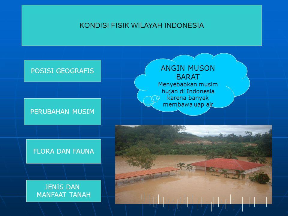 POSISI GEOGRAFIS PERUBAHAN MUSIM FLORA DAN FAUNA JENIS DAN MANFAAT TANAH ANGIN MUSON BARAT Menyebabkan musim hujan di Indonesia karena banyak membawa uap air KONDISI FISIK WILAYAH INDONESIA