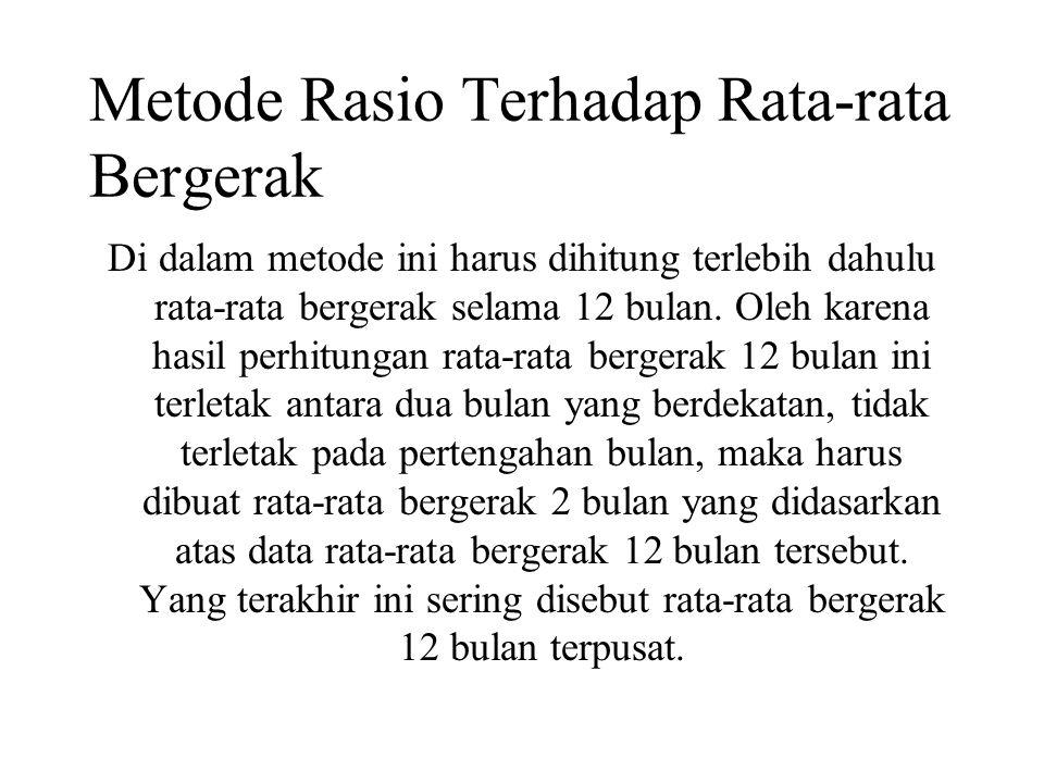 Metode Rasio Terhadap Rata-rata Bergerak Di dalam metode ini harus dihitung terlebih dahulu rata-rata bergerak selama 12 bulan. Oleh karena hasil perh