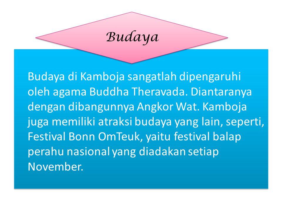 Budaya di Kamboja sangatlah dipengaruhi oleh agama Buddha Theravada. Diantaranya dengan dibangunnya Angkor Wat. Kamboja juga memiliki atraksi budaya y
