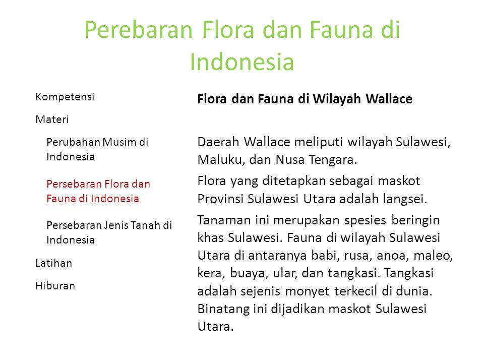Perebaran Flora dan Fauna di Indonesia Flora dan Fauna di Wilayah Wallace Daerah Wallace meliputi wilayah Sulawesi, Maluku, dan Nusa Tengara.