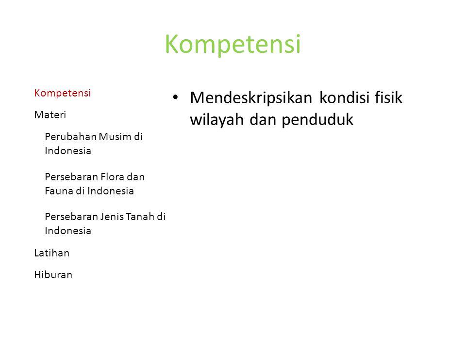 Kompetensi Mendeskripsikan kondisi fisik wilayah dan penduduk Kompetensi Materi Perubahan Musim di Indonesia Persebaran Flora dan Fauna di Indonesia Persebaran Jenis Tanah di Indonesia Latihan Hiburan