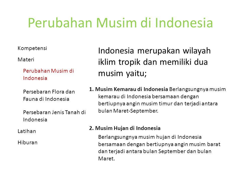 Perubahan Musim di Indonesia Indonesia merupakan wilayah iklim tropik dan memiliki dua musim yaitu; 1.