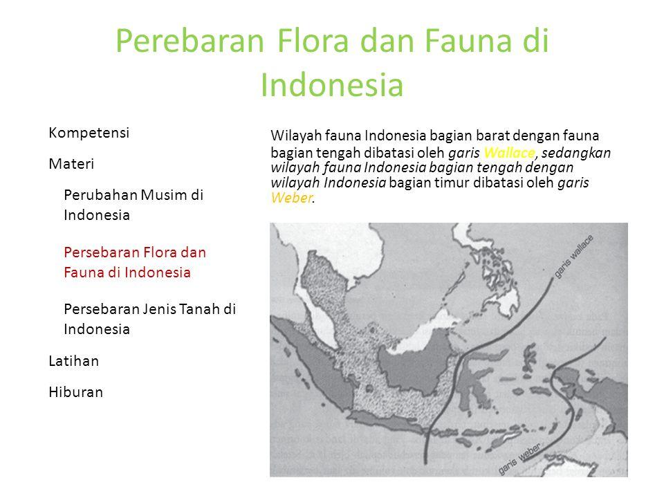 Perebaran Flora dan Fauna di Indonesia Wilayah fauna Indonesia bagian barat dengan fauna bagian tengah dibatasi oleh garis Wallace, sedangkan wilayah fauna Indonesia bagian tengah dengan wilayah Indonesia bagian timur dibatasi oleh garis Weber.