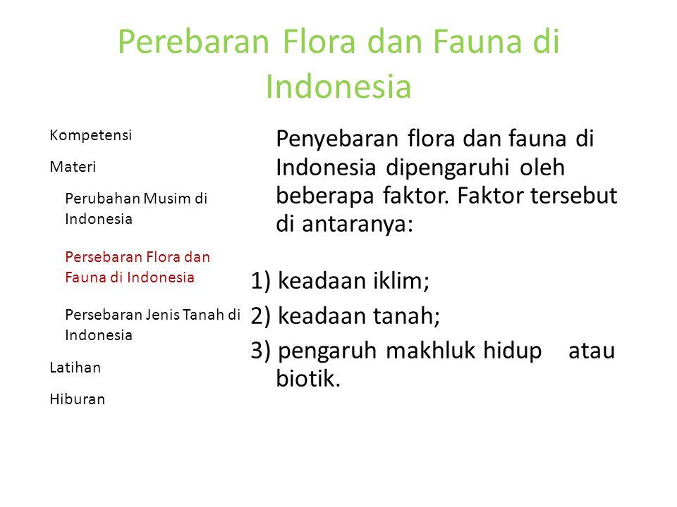 Perebaran Flora dan Fauna di Indonesia Penyebaran flora dan fauna di Indonesia dipengaruhi oleh beberapa faktor.