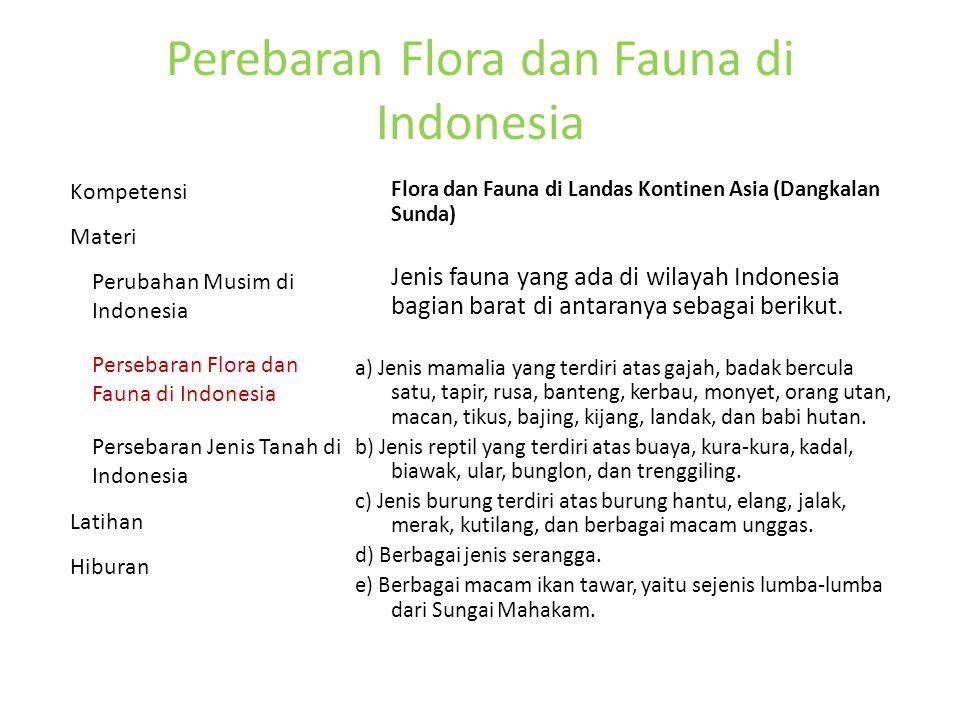 Perebaran Flora dan Fauna di Indonesia Flora dan Fauna di Landas Kontinen Asia (Dangkalan Sunda) Jenis fauna yang ada di wilayah Indonesia bagian barat di antaranya sebagai berikut.