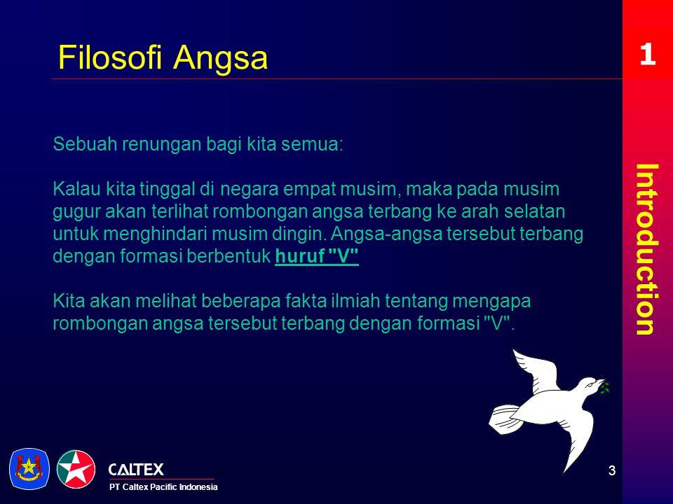 PT Caltex Pacific Indonesia Introduction 1 Filosofi Angsa Sebuah renungan bagi kita semua: Kalau kita tinggal di negara empat musim, maka pada musim g