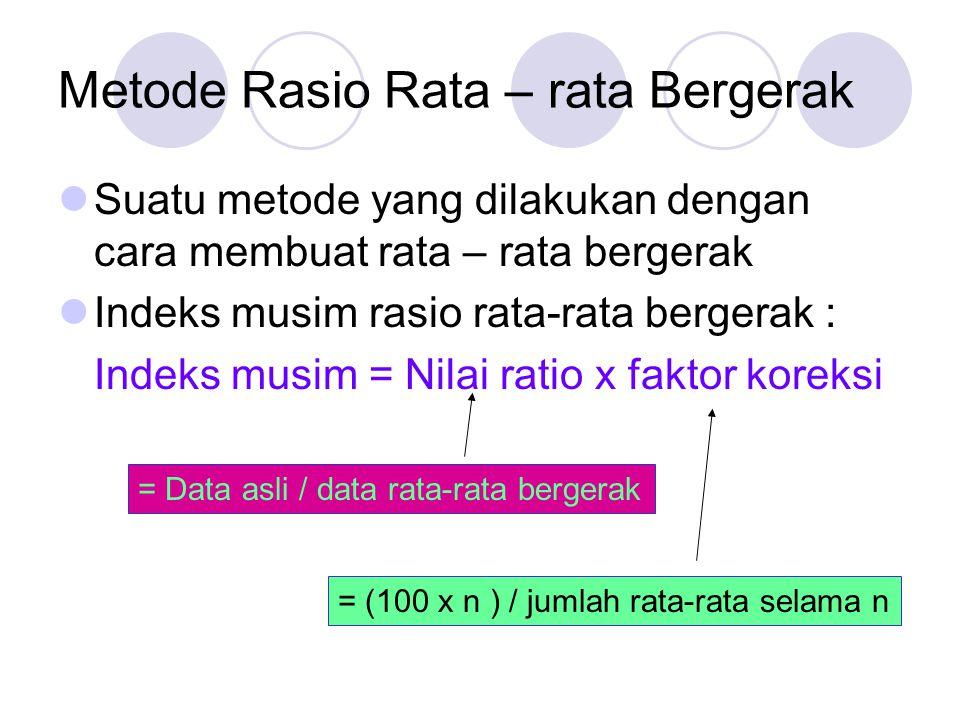 Metode Rasio Rata – rata Bergerak Suatu metode yang dilakukan dengan cara membuat rata – rata bergerak Indeks musim rasio rata-rata bergerak : Indeks musim = Nilai ratio x faktor koreksi = Data asli / data rata-rata bergerak = (100 x n ) / jumlah rata-rata selama n
