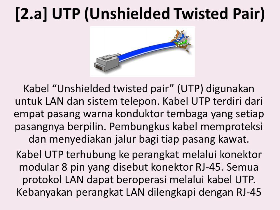 """[2.a] UTP (Unshielded Twisted Pair) Kabel """"Unshielded twisted pair"""" (UTP) digunakan untuk LAN dan sistem telepon. Kabel UTP terdiri dari empat pasang"""