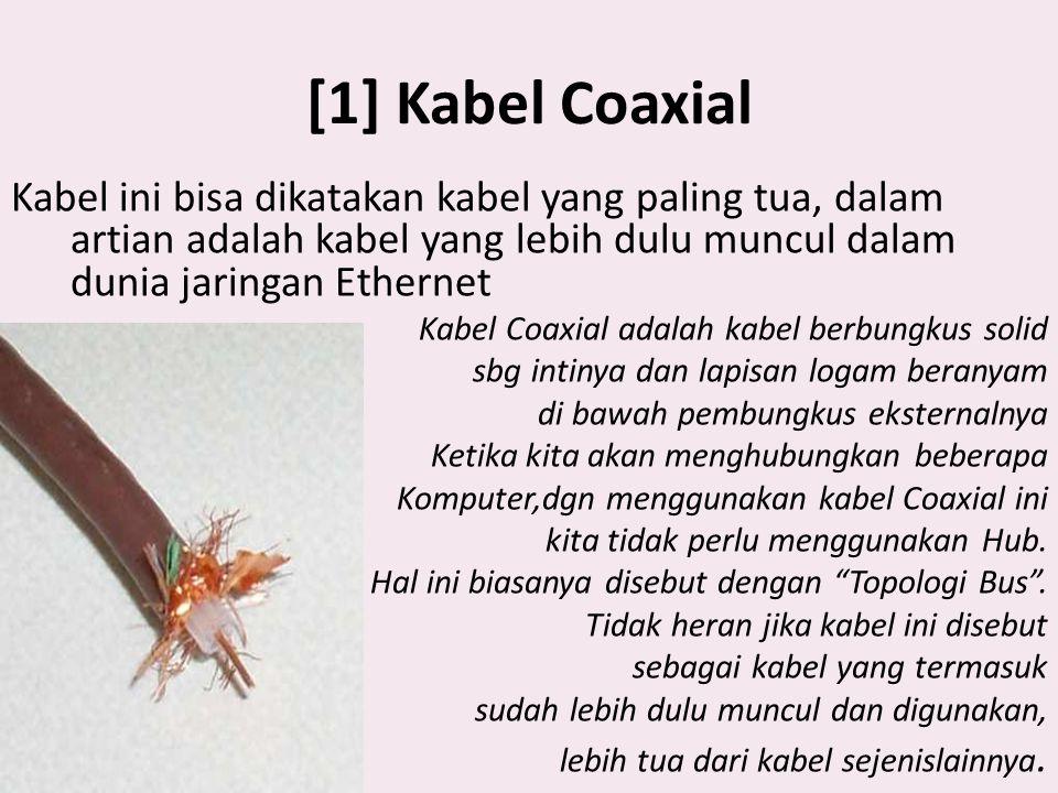 Kabel Coaxial Kabel coaxial terdiri dari : 1.Sebuah konduktor tembaga 2.Lapisan pembungkus dengan sebuah kawat ground .