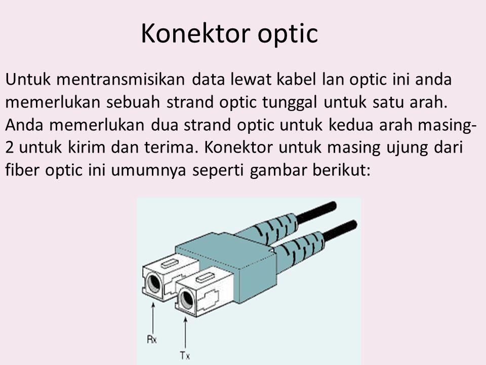 Konektor optic Untuk mentransmisikan data lewat kabel lan optic ini anda memerlukan sebuah strand optic tunggal untuk satu arah. Anda memerlukan dua s